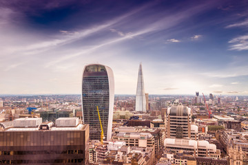 New skyline of London with beautiful sky