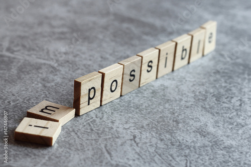 Papiers peints Positive Typography Possible word written on wood cube