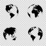 Set 3d earth globe on isolated background
