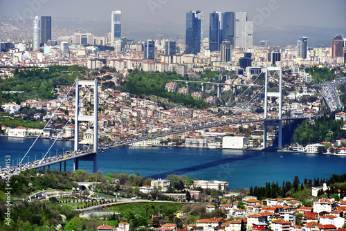 Panoramic view of Istanbul with the Bosphorus Bridge Poster