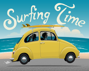 Summer Vacation Surfing Trip Themed vector illustration of the vintage car with the couple inside