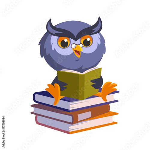 Foto op Aluminium Uilen cartoon Nice owl, he is reading a book, vector illustration