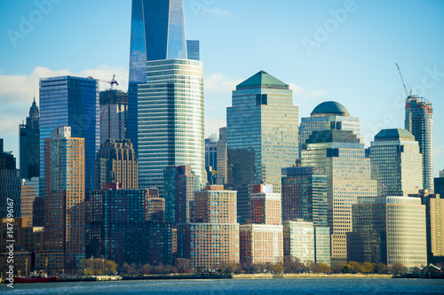 Scenic view of the Downtown Manhattan skyline with the Financial District in New Poster