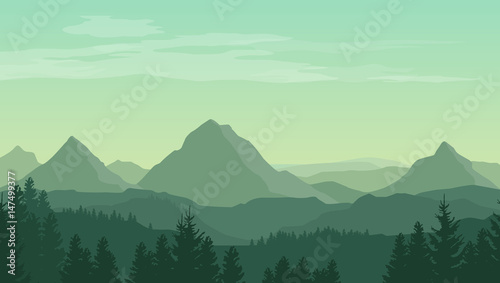 Landscape with green silhouettes of mountains, hills and forest and clouds in the sky - vector illustration - 147499377