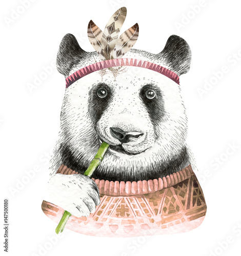 Watercolor panda illustration. Bohemian cute animal. Boho style. Nursary art print. Feathers collection - 147500180
