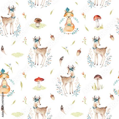 Cute baby foxes  and deer animal seamless pattern isolated  illustration for children clothing. Watercolor Hand drawn boho image Perfect for phone cases design, nursery posters, postcards - 147500509