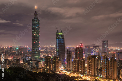 Taipei Night Cityscape. 101 Business Tower. Poster