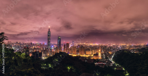Poster Taipei Night Cityscape. 101 Business Tower.