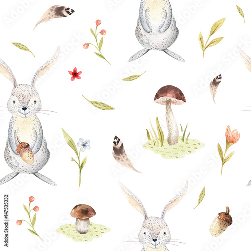 Cute baby rabbit animal seamless pattern for kindergarten, nursery isolated illustration for children clothing. Watercolor Hand drawn boho image Perfect for phone cases design, nursery poster. - 147535332