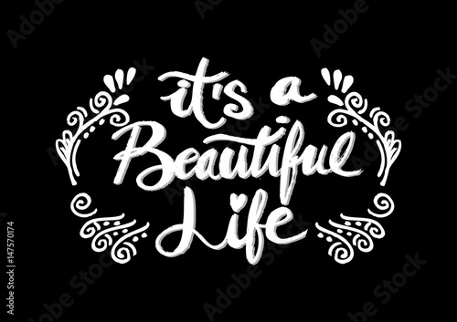 Canvas Positive Typography Its a beautiful life positive hand lettering typography.