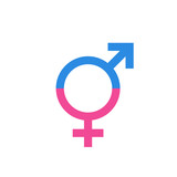 Gender equal sign vector icon. Men and woomen equal concept icon. - 147584743