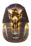 Replica of funerary mask of Tutankhamun. Isolated on black background. The same or very similar to the original