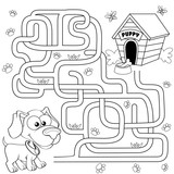 Help puppy find path to his house. Labyrinth. Maze game for kids. Black and white vector illustration for coloring book - 147603374