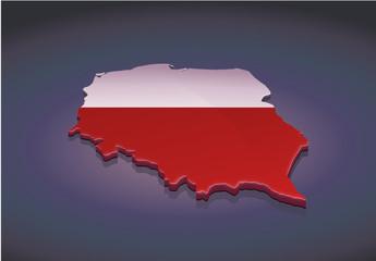Carte de la Pologne 3D (fond sombre)