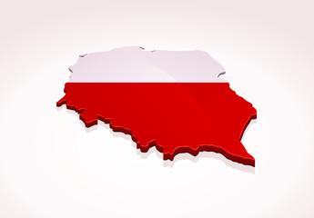 Carte de la Pologne 3D (fond blanc)