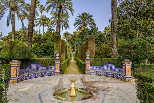 Garden in Alcazar of Seville, Spain
