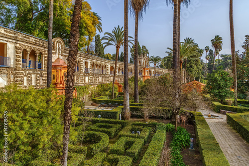 Gallery of Grutescos in Alcazar of Seville , Spain