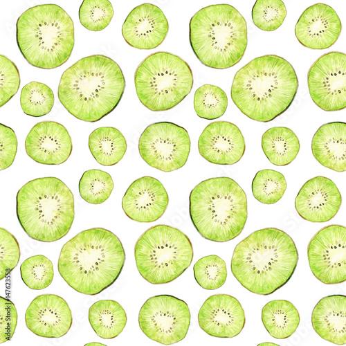 Watercolor seamless pattern with kiwi slices isolated on white. Repeating green fruit background - 147623558
