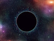 Black hole in outer space. Space nebula.