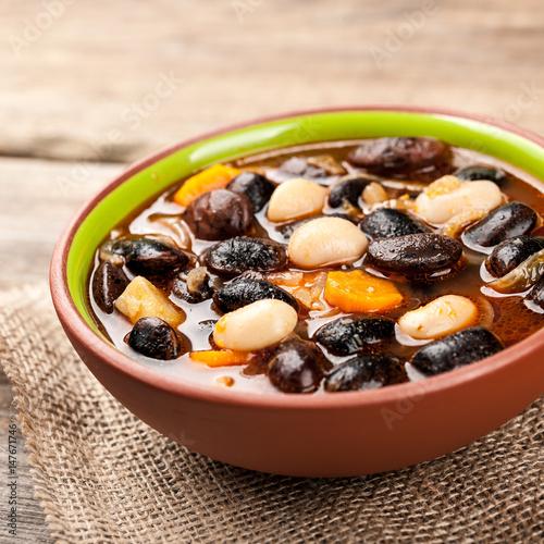 Bean soup in bowl