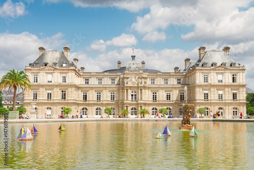 Luxembourg garden and famous pond with boats, Paris, France Poster