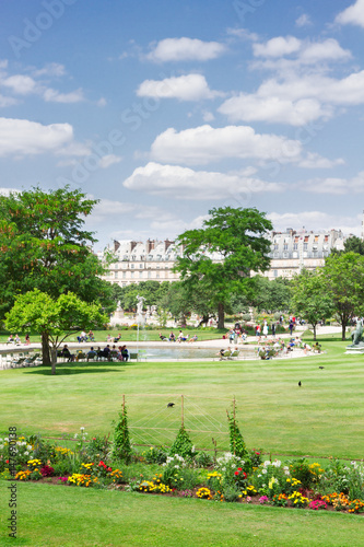 Tuileries green garden at summer day, Paris, France Poster