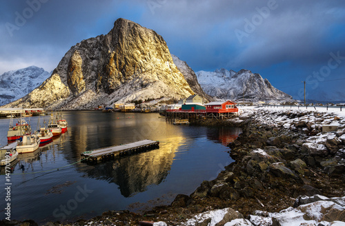 Aluminium Hamnoy village in Lofoten islands of Norway in winter time