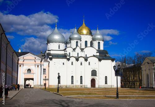 Poster Saint Sophia Cathedral - the main Orthodox church in Veliky Novgorod, created in the years 1045-1050 in Veliky Novgorod