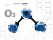 Molecule of ozone with with tehnology background, 3d Illustration,