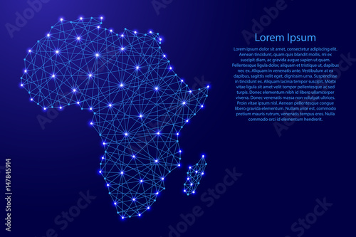 Map of Africa from polygonal blue lines and glowing stars vector illustration