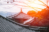 Japanese style temple roof. Tradition vintage of Kyoto prefecture shrine architecture.