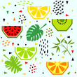 Cotton fabric Summer banner with fruit, vector illustration