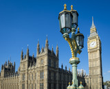 Bright scenic morning view of Big Ben and the Houses of Parliament at Westminster Palace in London, UK