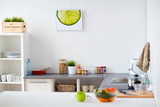 Fototapeta modern home kitchen interior with food on table