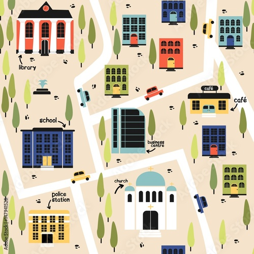 Cotton fabric Seamless pattern - colored city map. Vector.