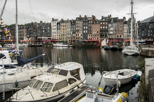 Pier with yachts in the French city of Honfleur Poster