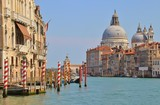 View of the Grand Canal and the baroque church Santa Maria della Salute in Venice. Italy, Europe.