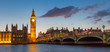 Big Ben, Palace of Westminster aka Houses of Parliament and Westminster's bridge at dusk, London, United Kingdom.