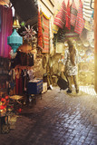Woman tourist, in the arab souk of marrakech, morocco. decoration objects