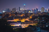 cityscape of downtown Bangkok at night ( Thailand  , Asia )