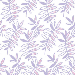 tender violet floral motif vector illustration. tropical leaves seamless pattern on white background. hand drawn naive style natural design © galyna_p