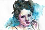 Watercolor portrait of a woman