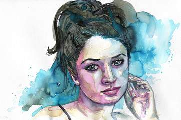 Watercolor portrait of a woman © bruniewska