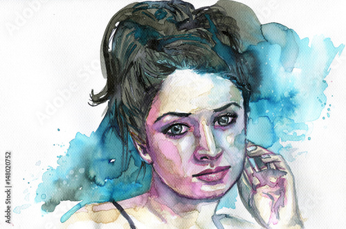 Foto op Canvas Schilderkunstige Inspiratie Watercolor portrait of a woman