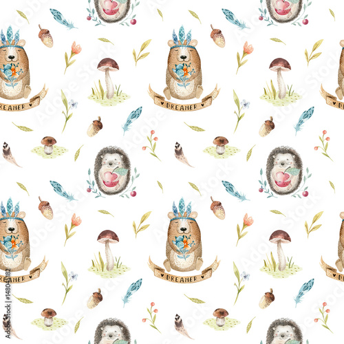 Cute baby hedgehog  and bear animal seamless pattern for kindergarten, nursery isolated  illustration for children clothing. Watercolor Hand drawn boho image Perfect for phone cases design, nursery - 148045182