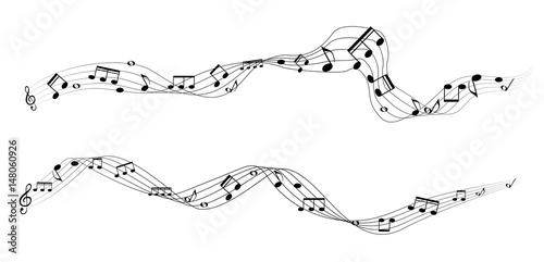 Fotobehang Muziek Set of musical notes on five-line clock notation without a featu