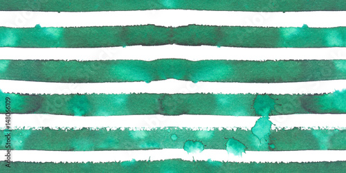 Cotton fabric Seamless pattern with emerald green horizontal stripes painted in watercolor on white isolated background