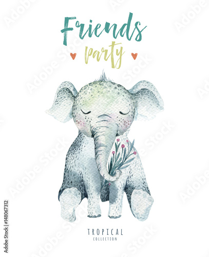 Baby animals nursery isolated illustration for children. Watercolor boho tropical drawing, child cute tropic elephant. Baby shower - 148067312