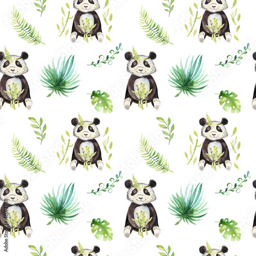 Baby animals nursery isolated seamless pattern. Watercolor boho tropical drawing, child tropical drawing cute panda and palm tree, tropic green texture illustration - 148073558