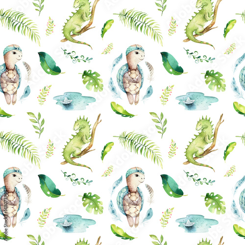 Baby animals nursery isolated seamless pattern. Watercolor boho tropical fabric drawing, child tropical drawing cute iguana, turtle and palm tree, alligator tropic green - 148073964